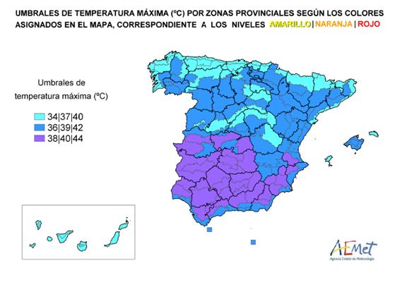 Imagen con el mapa con las temperaturas máximas UMBRALES